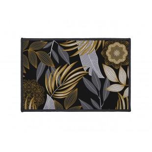 Čierny dekoračný koberček s rastlinným motívom
