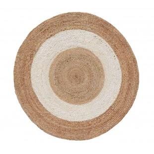 Béžový jutový kruhový koberček