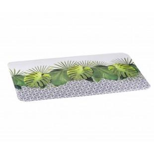 Biely kúpeľňový koberček s rastlinným motívom