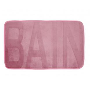 Ružový kúpeľňový koberček s nápisom