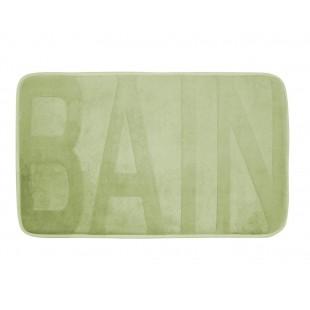 Zelený kúpeľňový koberček s nápisom