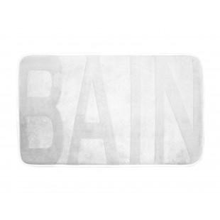 Biely kúpeľňový koberček s nápisom