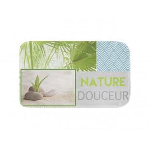Kúpeľňový koberček s prírodným motívom a nápisom