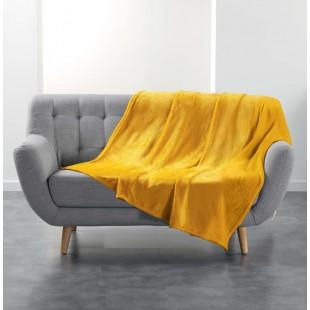 Jemná plyšová deka horčicovej farby