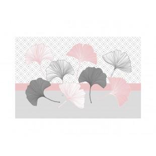 Ružové vzorované prestieranie na stôl s rastlinným motívom