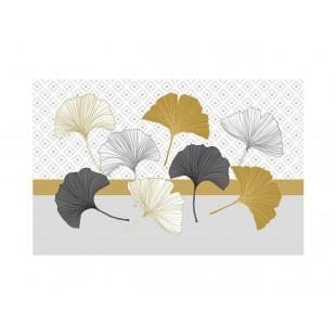 Zlaté vzorované prestieranie na stôl s rastlinným motívom