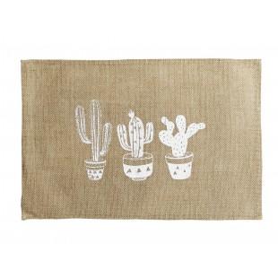 Jutové prestieranie na stôl so vzorom kaktusov