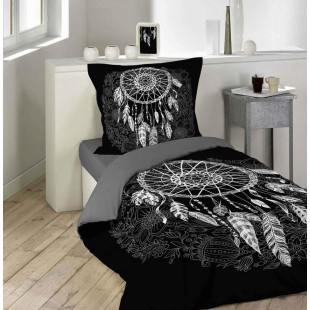 Čierna bavlnená posteľná obliečka so vzorom lapača snov