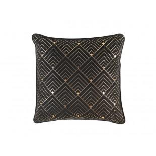 Čierny zamatový dekoračný vankúš so zlatým vzorom