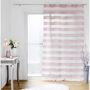 Ružová pruhovaná záclona so strapčekmi na kruhy