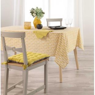 Žltý obrus na stôl s motívom lístočkov