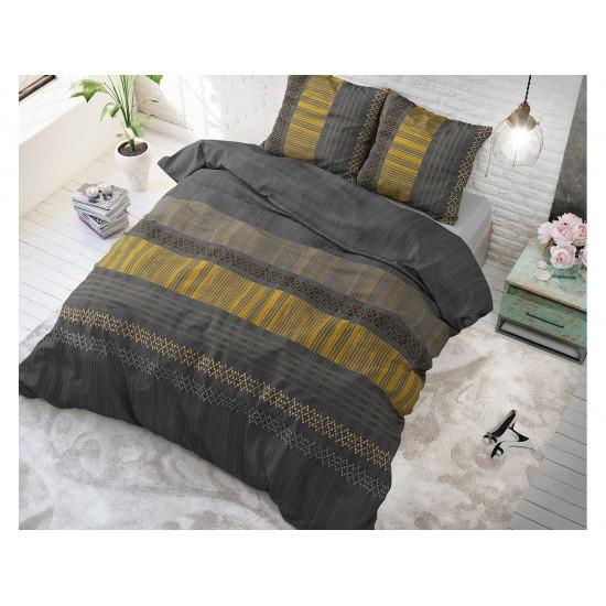 Pruhované tmavosivé posteľné obliečky s horčicovými pásmi