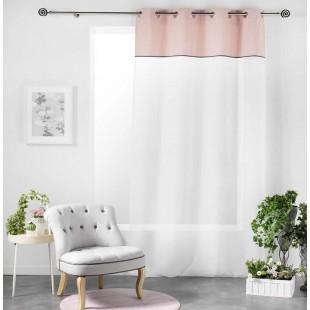 Biela záclona s ružovým ozdobným pásom