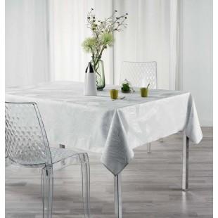 Biely obrus na stôl so strieborným motívom
