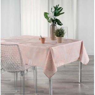 Ružový obrus na stôl so zlatým motívom