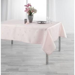Ružový obrus na stôl s jemným rastlinným motívom