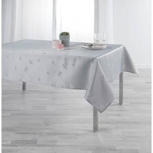 Sivý obrus na stôl s jemným rastlinným motívom