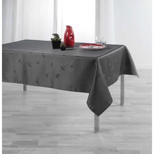 Tmavosivý obrus na stôl s jemným rastlinným motívom