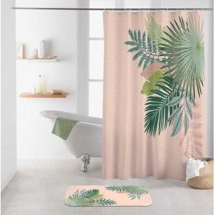 Ružový kúpeľňový záves s rastlinným motívom