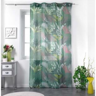 Zelená záclona s farebným rastlinným motívom