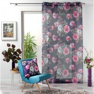 Fialová záclona s kvetinovým motívom