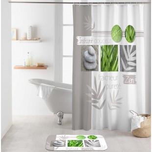 Bielo-sivý kúpeľňový záves s prírodným motívom a nápisom