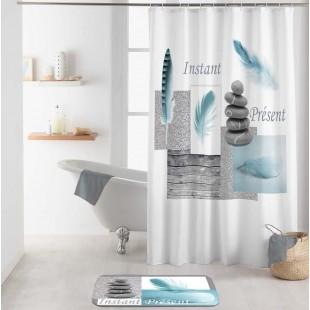 Biely kúpeľňový záves s prírodným motívom