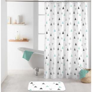 Biely kúpeľňový záves s geometrickým motívom