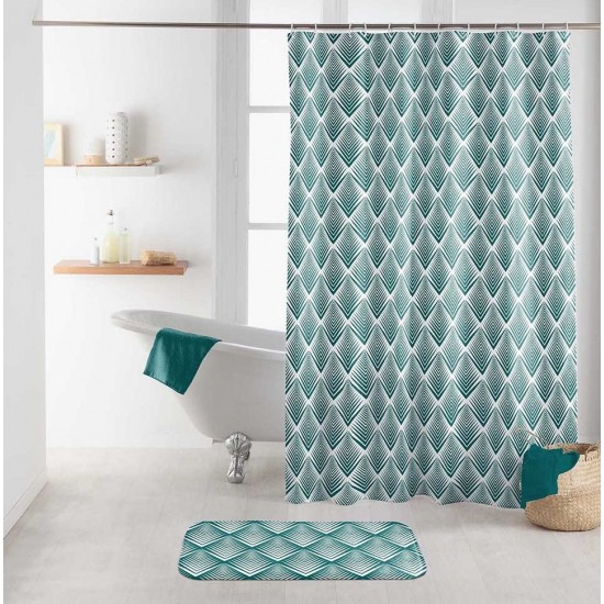 Zelený vzorovaný kúpeľňový záves