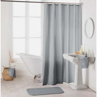 Sivý kúpeľňový záves na háčiky