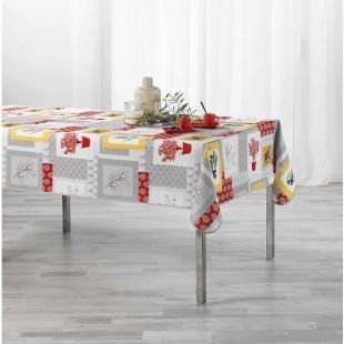 Sivý obrus na stôl s červenými motívmi