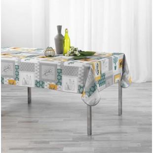 Sivý obrus na stôl so žltými motívmi