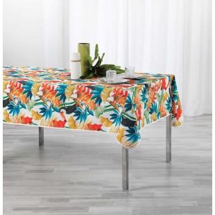 Biely obrus na stôl s tropickým motívom