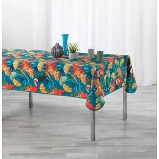 Modrý obrus na stôl s tropickým motívom