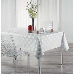 Biely obrus na stôl so strieborným vzorom