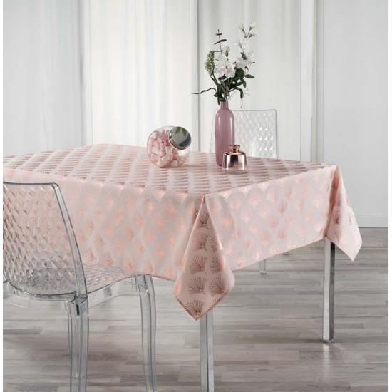 Ružový obrus na stôl so vzorom