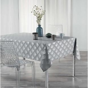 Sivý obrus na stôl so strieborným vzorom