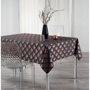 Tmavosivý vzorovaný obrus na stôl s ružovým zlatom