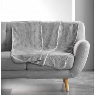 Sivá plyšová deka so strieborným vzorom