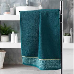 Petrolejový bavlnený kúpeľňový ručník so vzorom