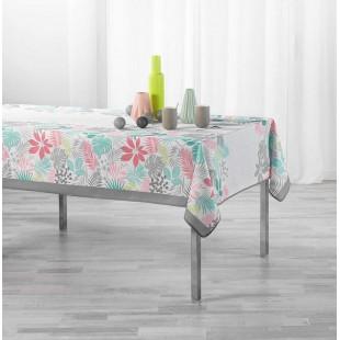 Biely vzorovaný obrus na stôl s rastlinným motívom