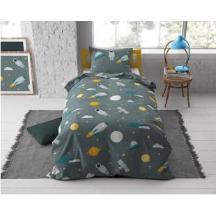 Sivá bavlnená posteľná obliečka pre deti s motívom vesmíru