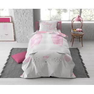 Bielo-ružová posteľná obliečka pre deti so zajačikom