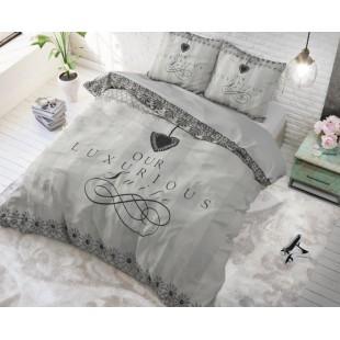 Sivá luxusná bavlnená posteľná obliečka s nápisom