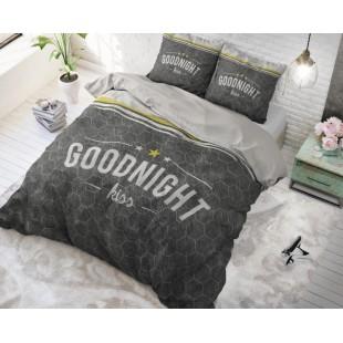 Sivá bavlnená posteľná obliečka so vzorom a nápisom