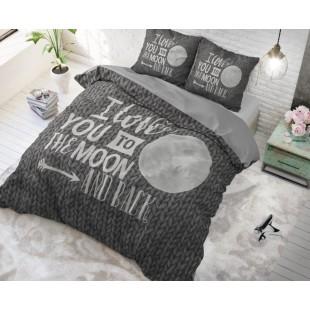 Tmavosivá bavlnená posteľná obliečka s nápisom