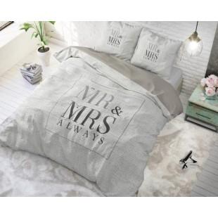 Bielo-béžová bavlnená posteľná obliečka Mr and Mrs