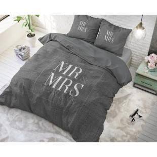 Tmavosivá bavlnená posteľná obliečka Mr and Mrs