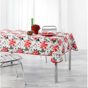 Biely obrus na stôl s červenými kvetmi