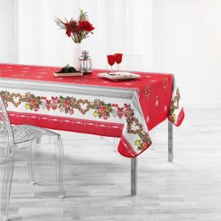 Červený obrus na stôl s vianočným motívom
